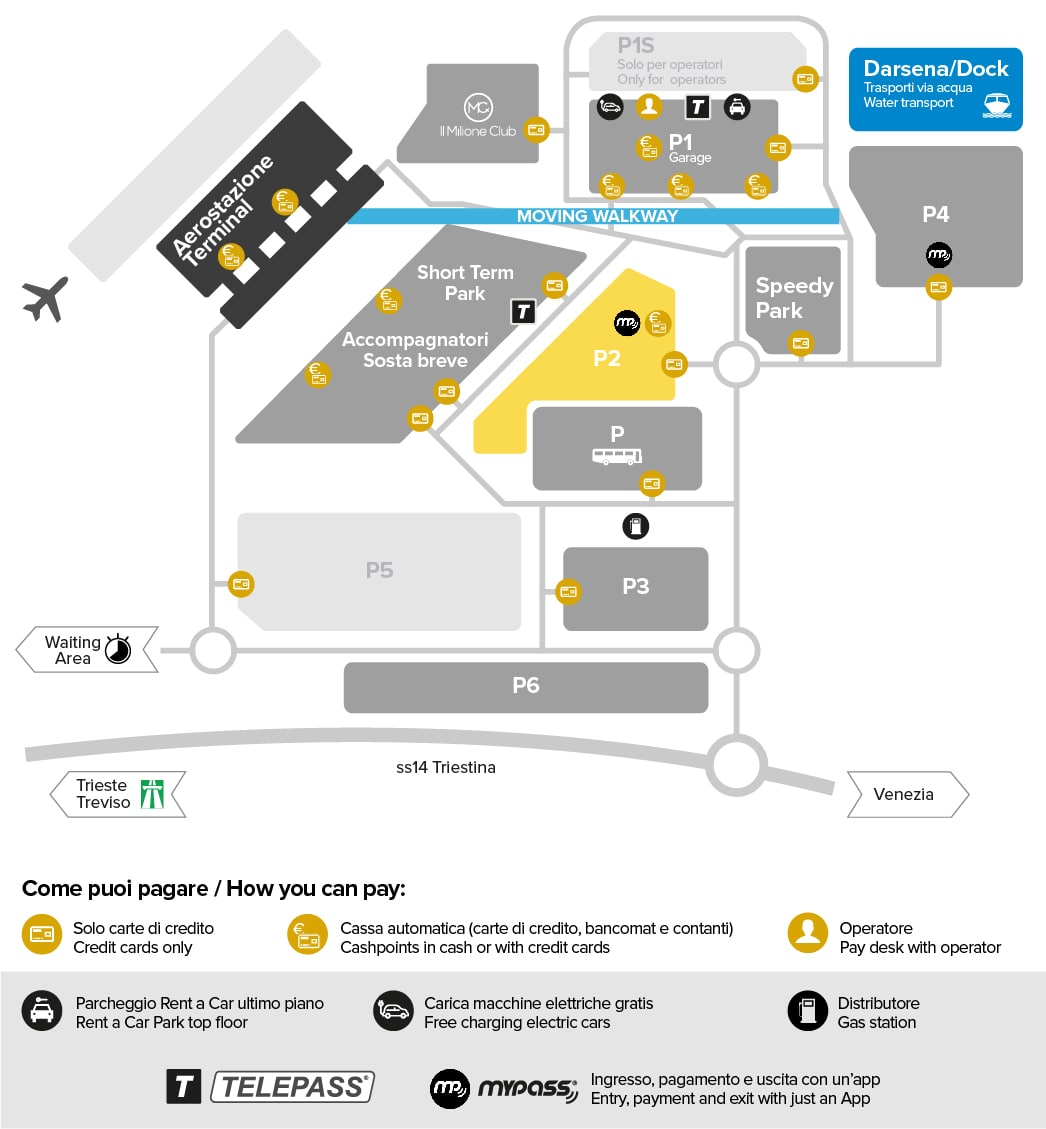 Venice airport parking Park P2 map