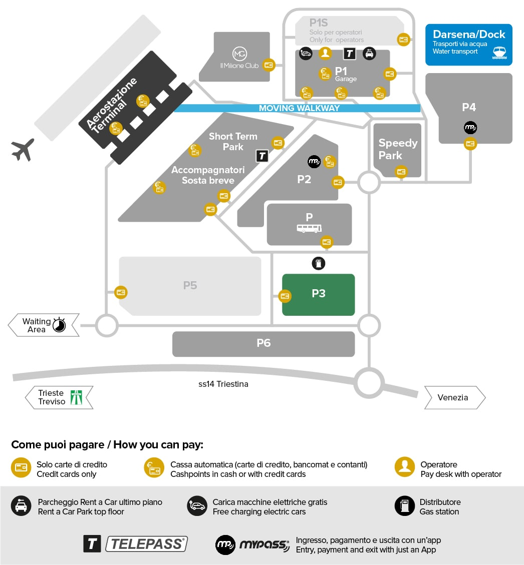 Venice airport parking Park P3 map