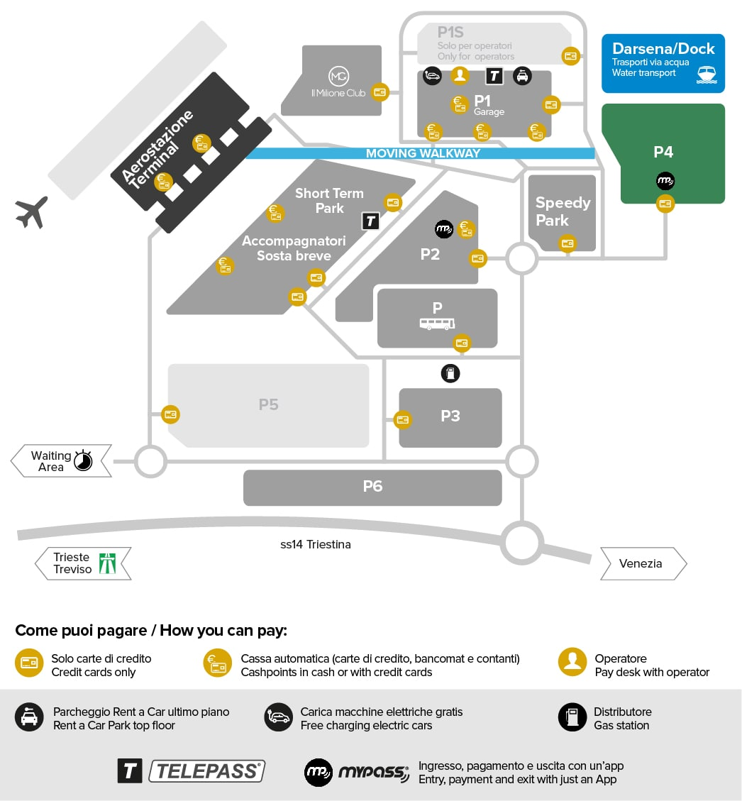 Venice airport parking Park P4 map