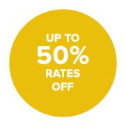 Up to 50& rates off
